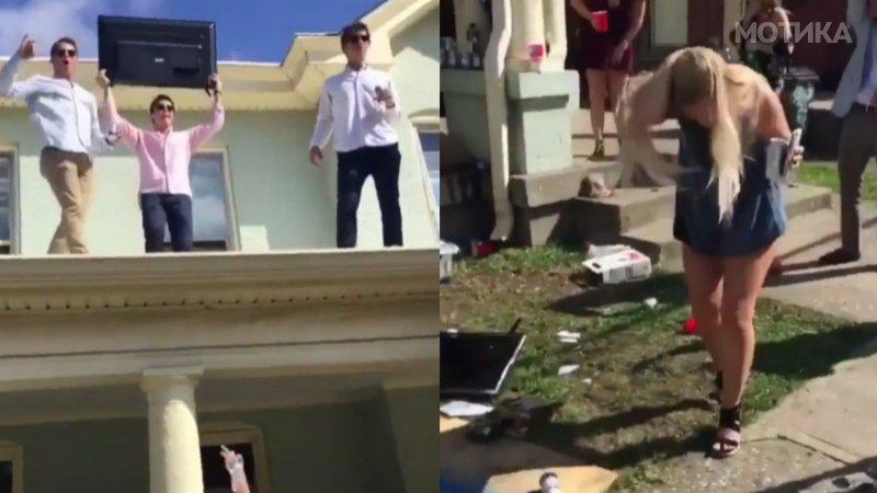 Најголемиот шизик на забавата фрла телевизор од покривот  Што може да тргне наопаку