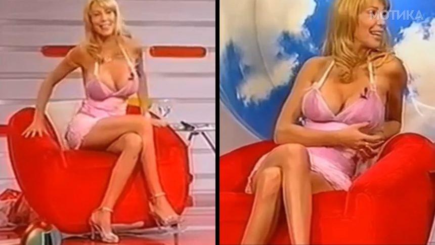 Плавушата   водителка знае да си одбере соодветно фустанче за ТВ емисија во живо
