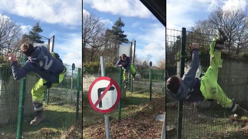 Има ли посмешна работа од тоа  колегата да ти се закачи на оградата